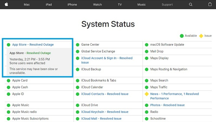 App Store service downtime resolved on status page