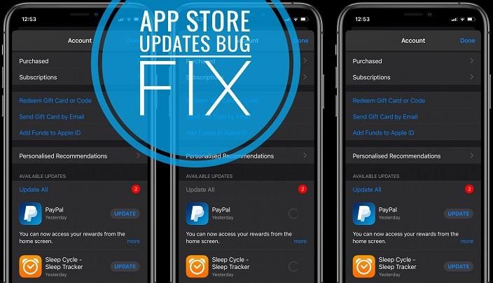 App Store updates not working