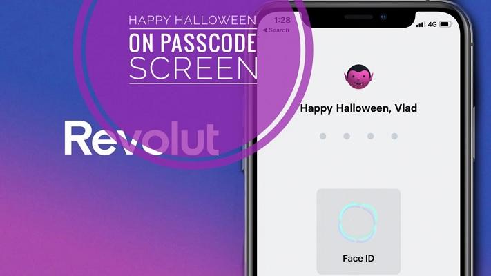 Revolut Happy Halloween greeting on Passcode Screen