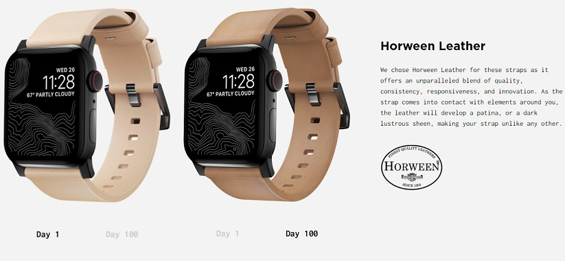apple watch leather strap changes color as it ages