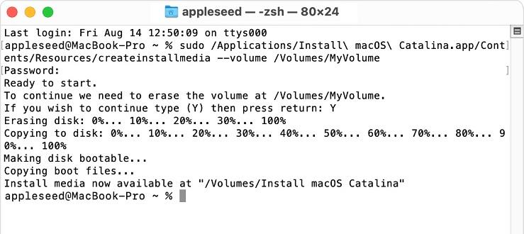 creating macOS Big Sur bootable installer in Terminal