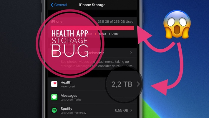 health app storage bug in iOS 14