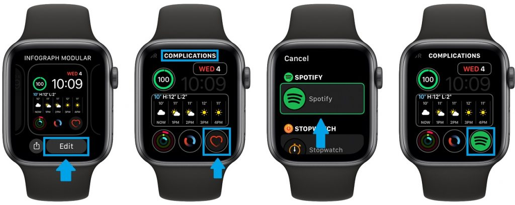 how to add Spotify complication to Apple Watch