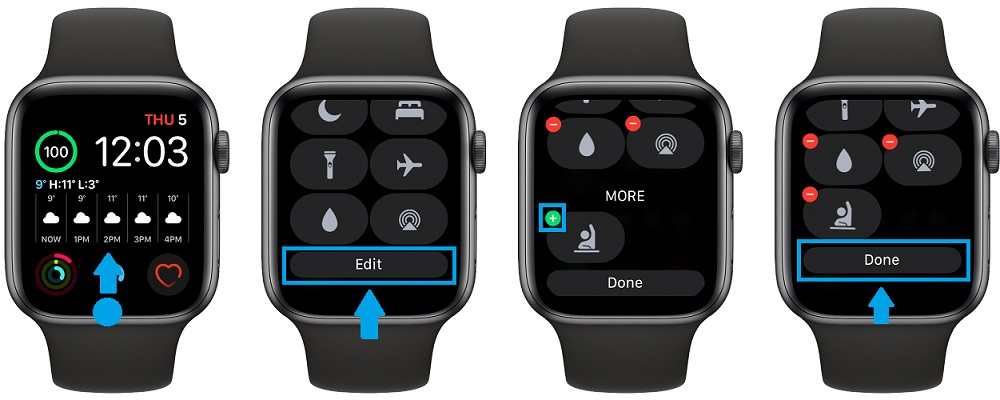 how to add control center icons on Apple Watch