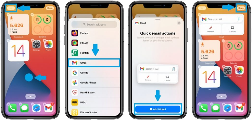 how to add gmail widget to home screen