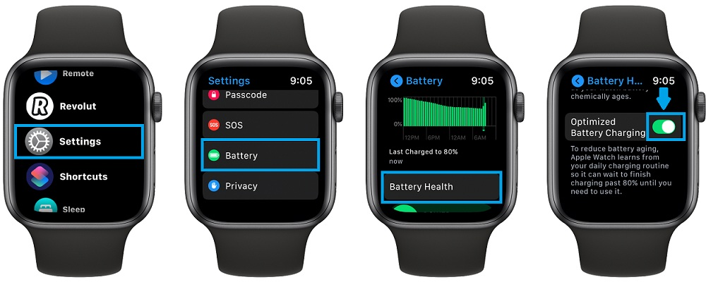 how to disable apple watch optimized battery charging