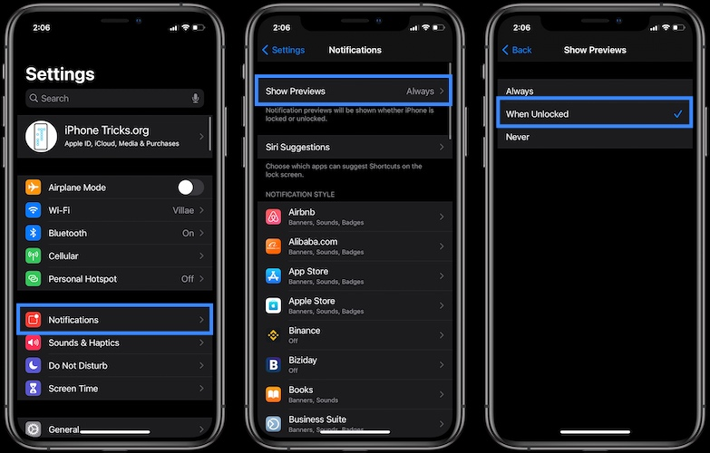 how to disable notification previews
