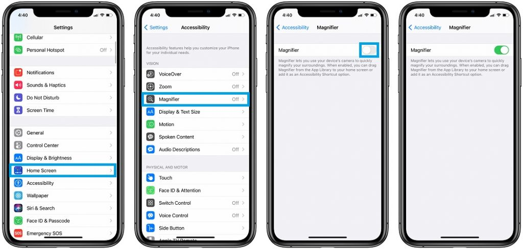 how to enable Magnifier on iPhone