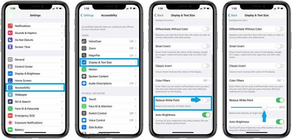 how to enable Reduce White Point in ios 14