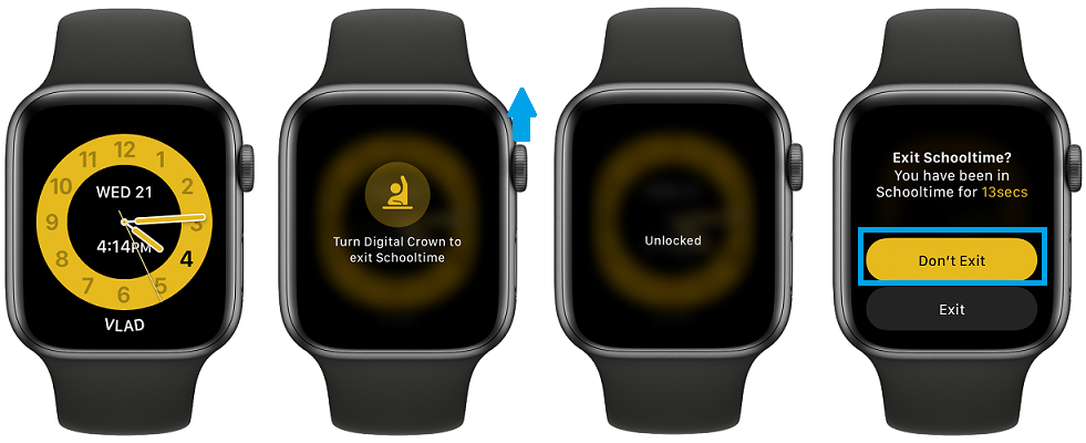 how to exit schooltime on Apple Watch