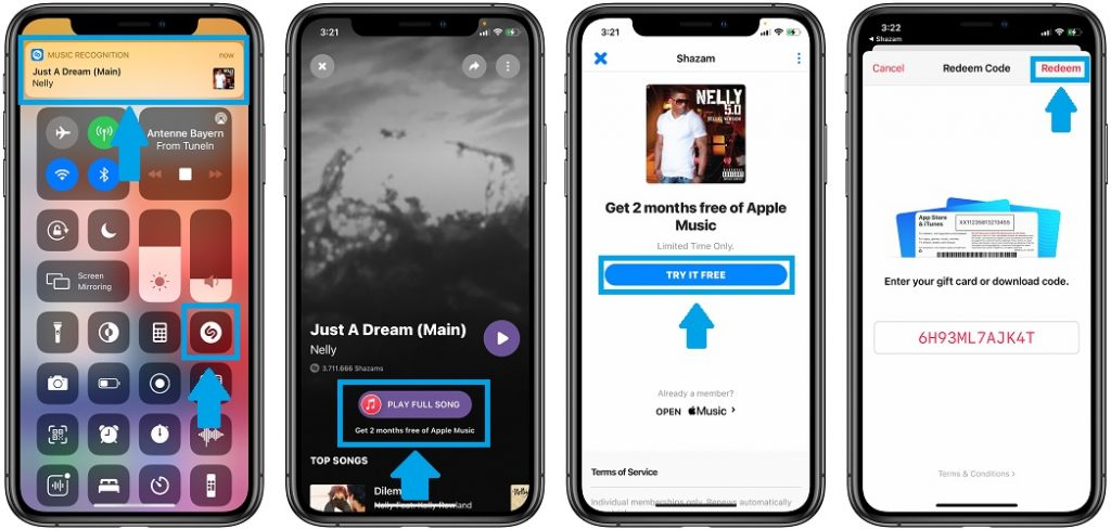 how to get apple music free with shazam