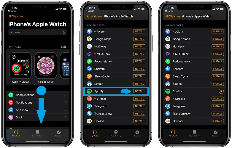how to install Spotify on Apple Watch