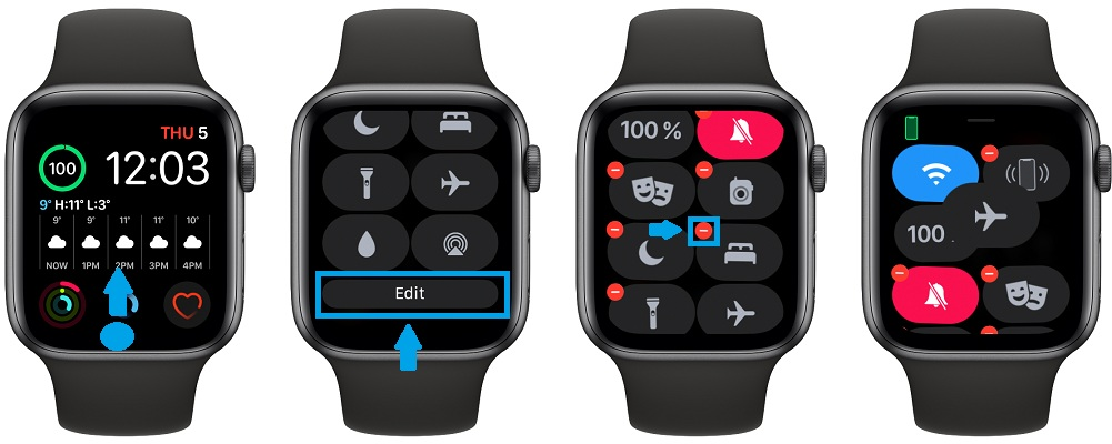 how to remove Apple Watch Control Center icons