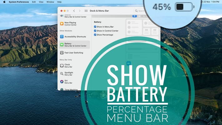 how to show battery percentage in macOS Big sur menu bar