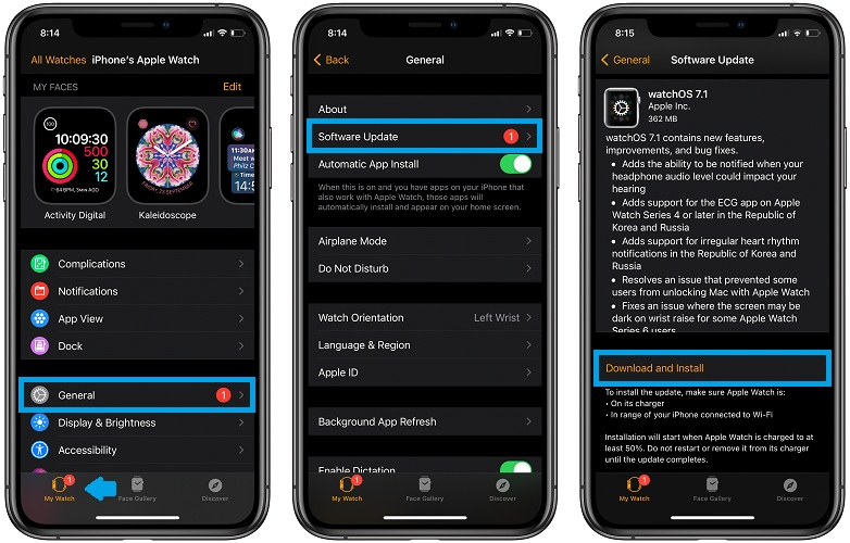 how to update to watchOS 7.1
