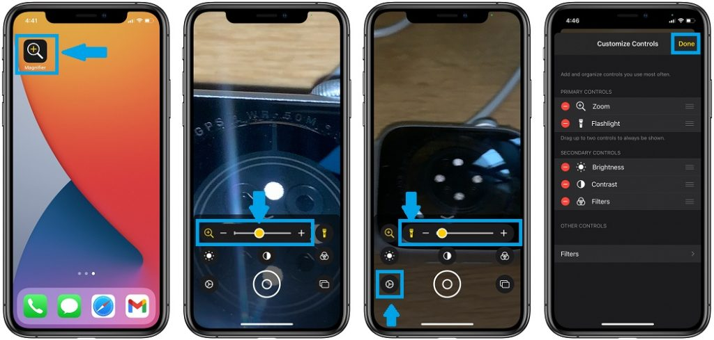 how to use Magnifier in iOS 14