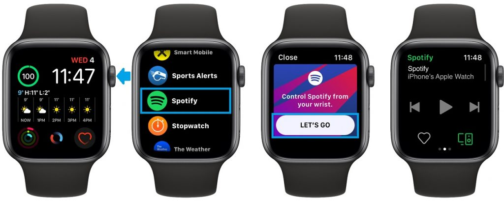 how to use Spotify on Apple Watch