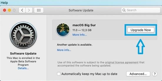 macOS Big Sur software update