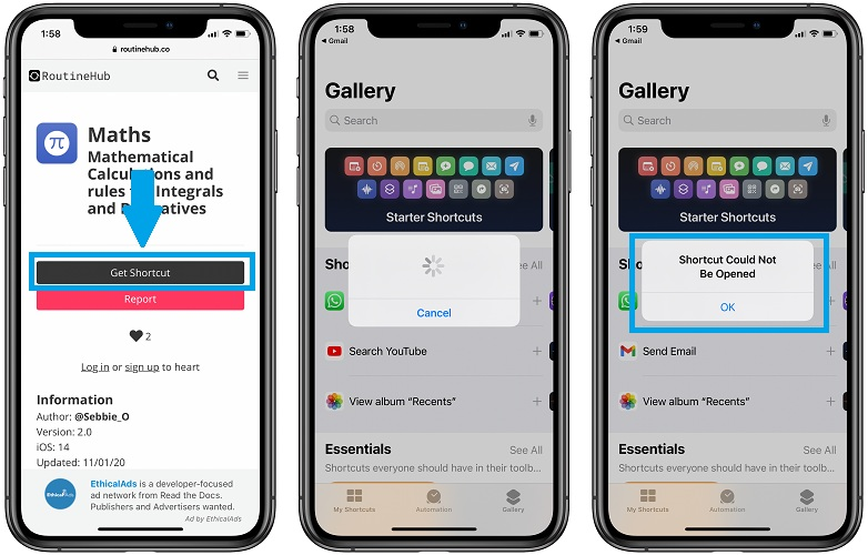 shortcut could not be opened error in ios 14