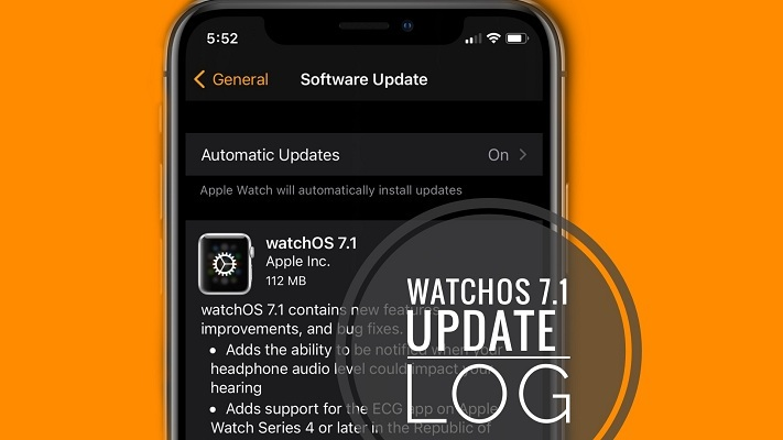 watchOS 7.1 software update screen