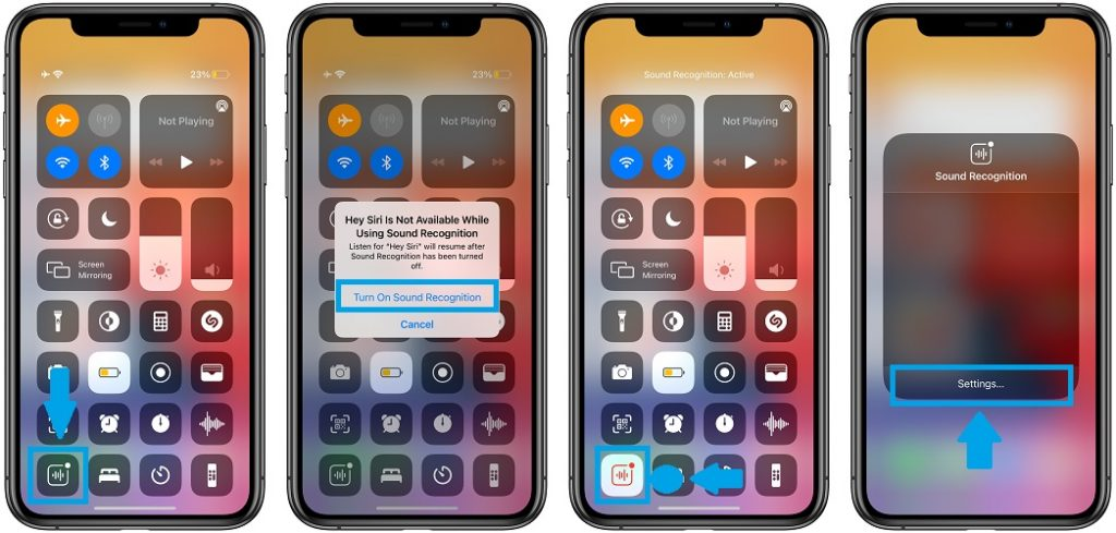 Control Center workaround for sound recognition crash