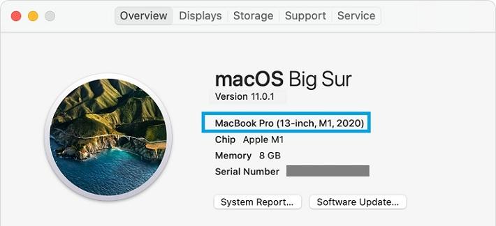M1 MacBook Pro device model confirmation