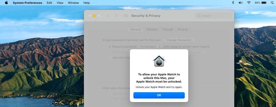 Unlock Apple Watch prompt in macOS Big Sur