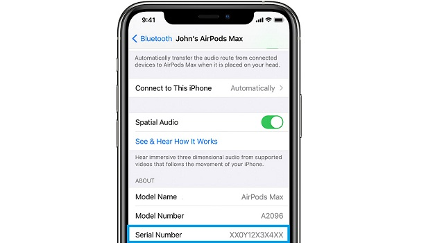 airpods max serial number in iOS settings