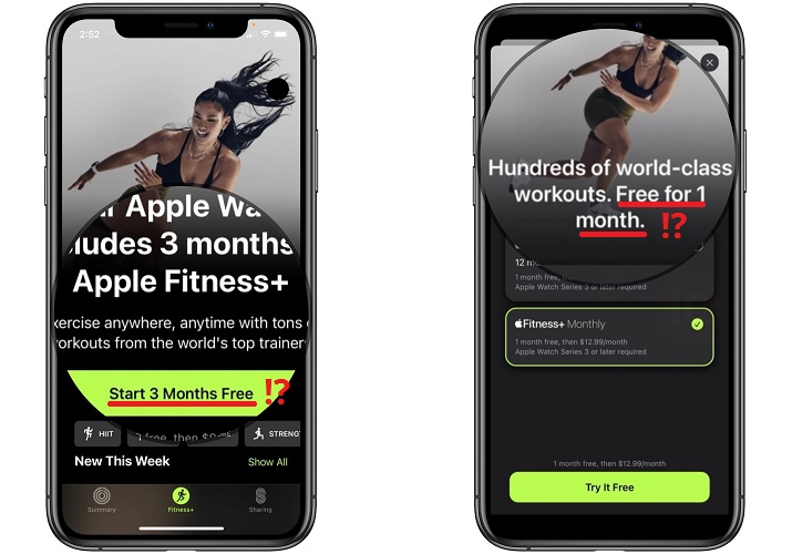 apple fitness+ 1 month free trial instead of 3 months