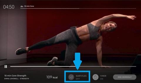 apple fitness+ subtitles off