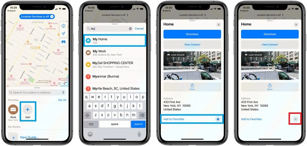 apple maps add home address to favorites bug