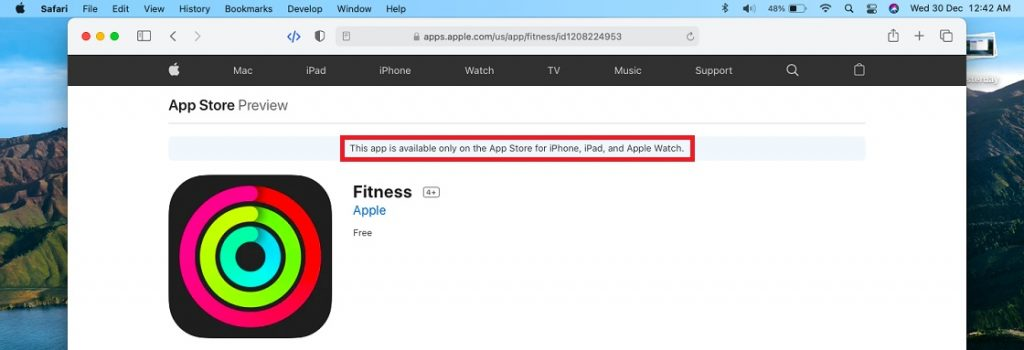 fitness app not available in Mac App Store
