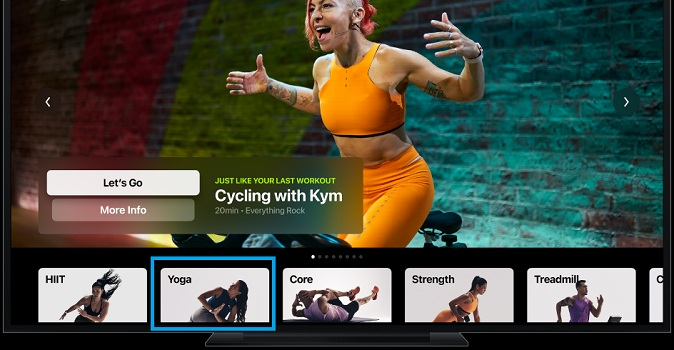 fitness+ workout types on apple tv