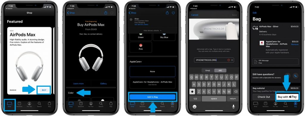 how to buy airpods max from apple store app