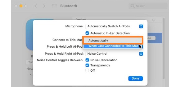 how to enable airpods automatic Bluetooth switching on Mac