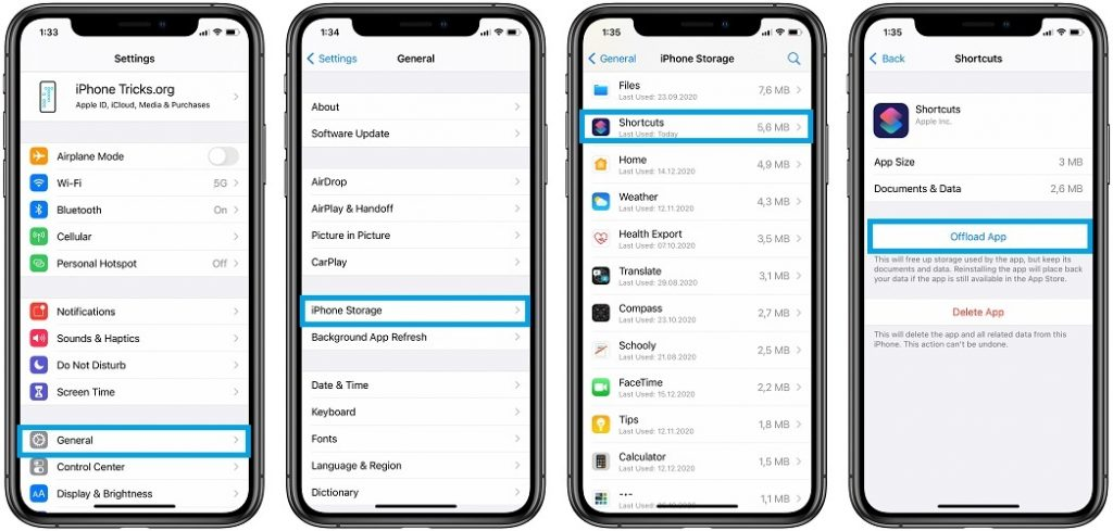 how to offload shortcuts app
