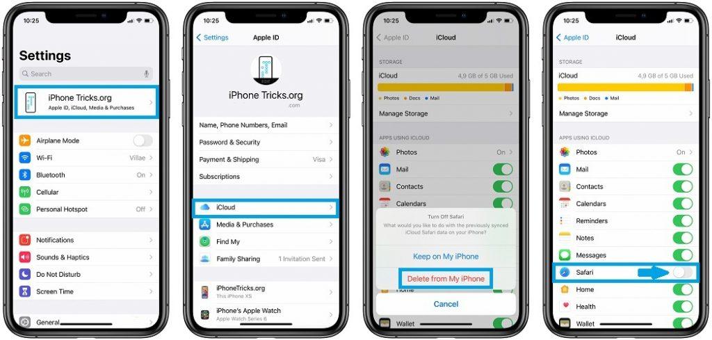 how to reset Safari iCloud tabs sync