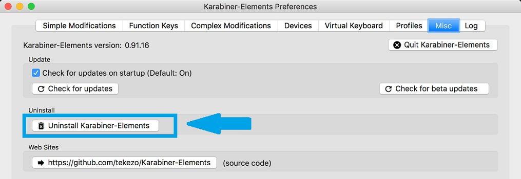 how to uninstall karabiner-elements in macOS Big Sur