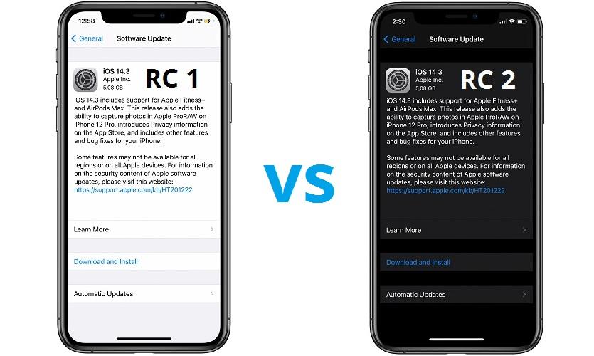 iOS 14.3 RC 1 vs RC 2