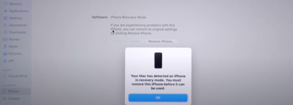 iPhone 12 DFU Mode in Finder