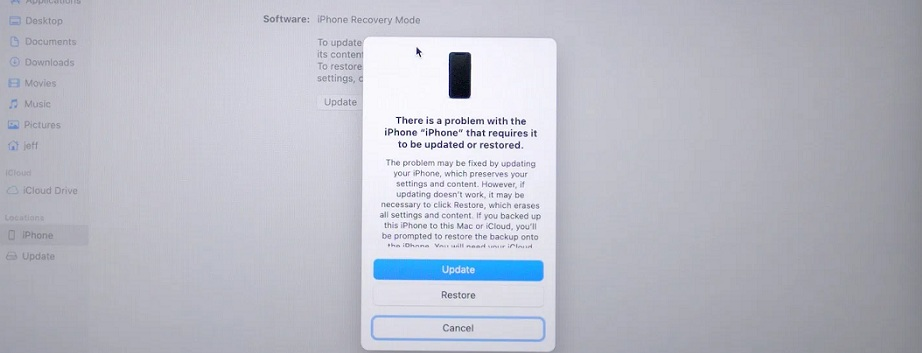 iPhone 12 Recovery Mode in Finder