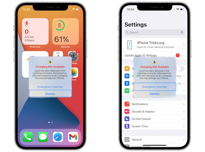iPhone charging not available bug in ios 14