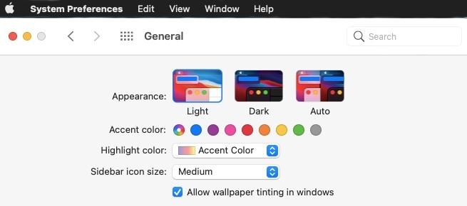 macos big sur dark menu bar in light theme