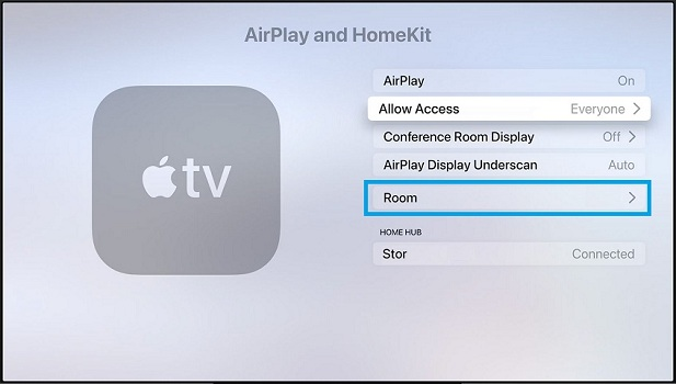 setting up a room in Apple TV HomeKit