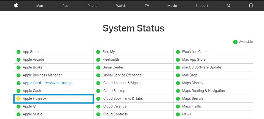 Apple Fitness+issue reported on system status page