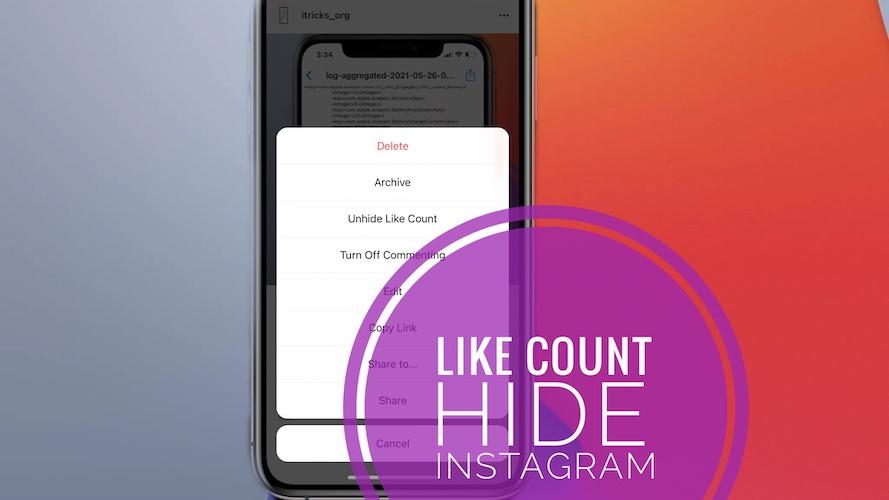 hide like count Instagram