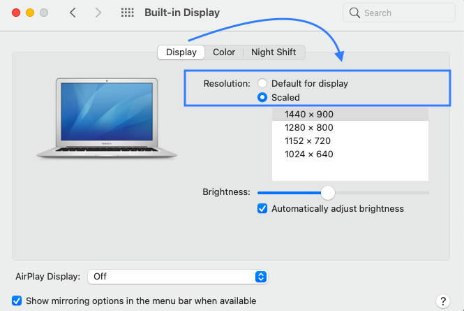 how to adjust screen resolution in mac