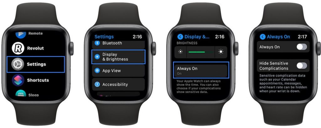 how to disable always on apple watch