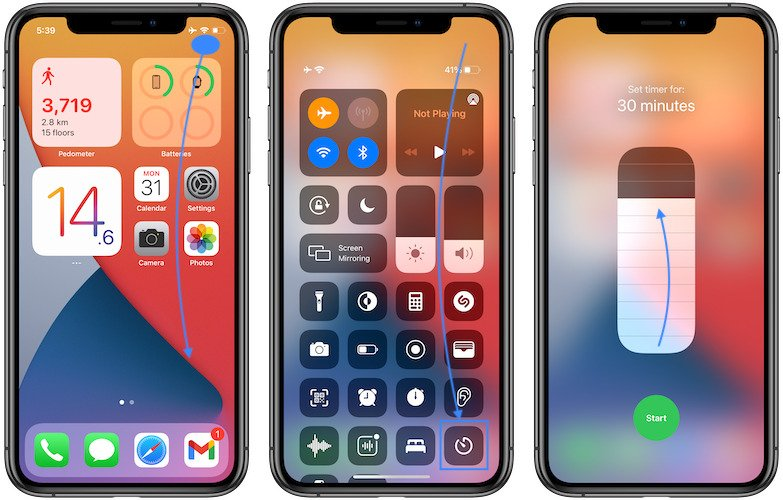 how to set timer in control center