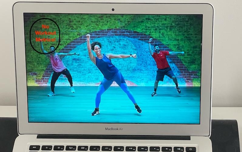 Apple Fitness+ on Mac no workout metrics